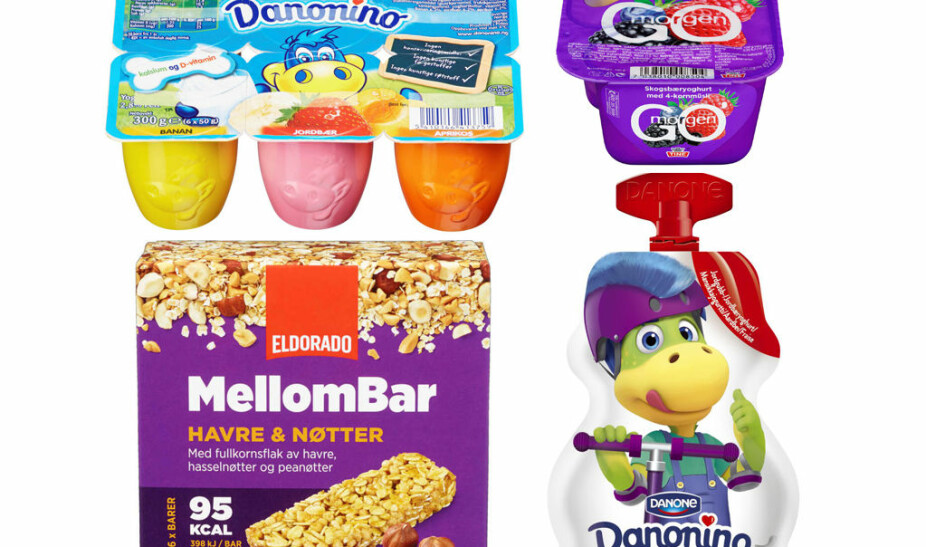 Danomino-yoghurt, mellombar med havre og nøtter og Go`morgen-yoghurt med skogsbær.