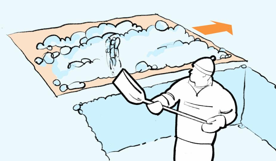 FLYTTE SNØ: Presenning. Snøen kan flyttes i to trinn. Først spade, så en presenning, pulk eller annet for å transportere den bort fra hytteveggen.