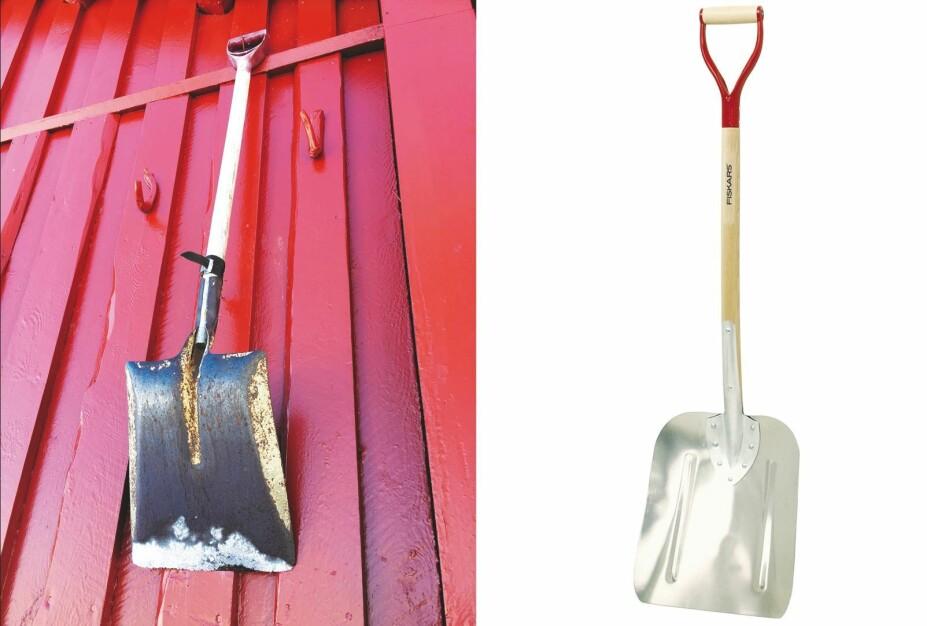 GODT FORBEREDT: Spaden gjør liten nytte for seg om den står i det nedsnødde skjulet. Heng den høyt på veggen. Velg også et godt redskap. En brukket spade kan gi en dårlig start på utgravingen. Her går ekspertene for kvalitet.