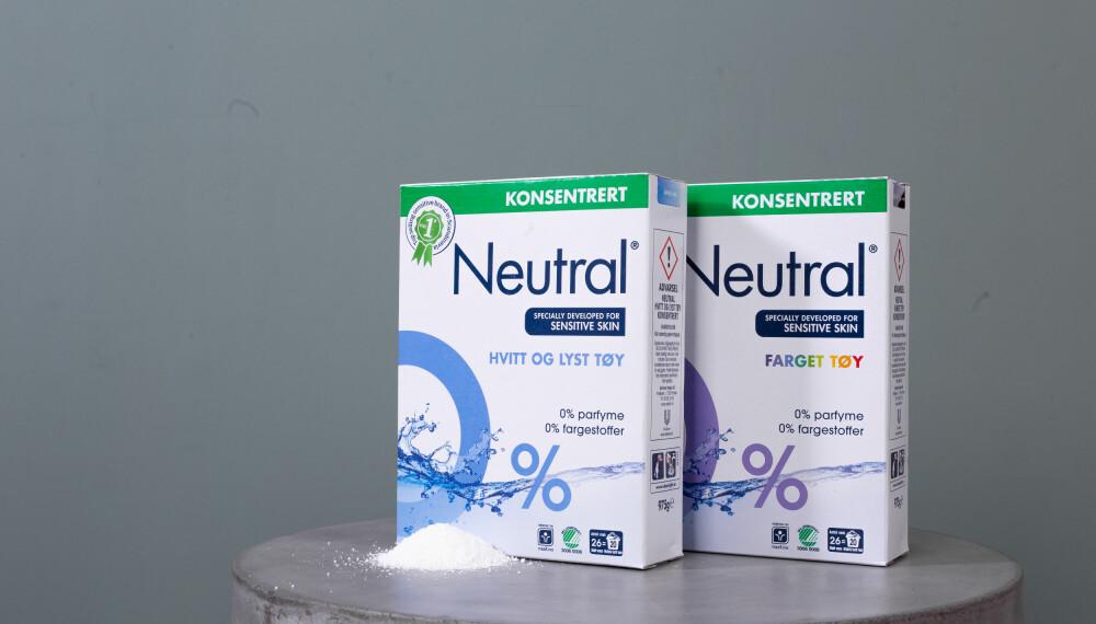 RENT PÅ 40 GRADER: Neutral sine produkter inneholder vaskeaktive stoffer som får skitten til å slippe taket uten at fibrene blir slitt. Bruker du Neutral vaskemiddel er det ikke nødvendig med for høy temperatur på vasken.