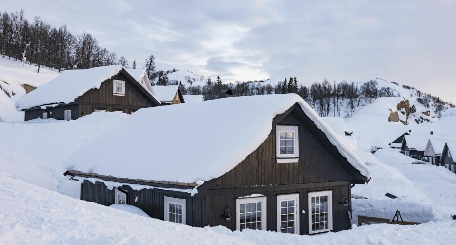 Snørikt. Det er store mengder snø på Rauland denne vinteren. Hytta ligger høyt i terrenget med en flott utsikt, men nå ser familien bare rett ut i snøen.