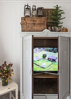 FARMEN – PÅ EKTE: Paret har skjult TV-en inne i et gammelt skap. På den måten får Katrine beholde den landlige, koselige stilen også i TV-kroken.
