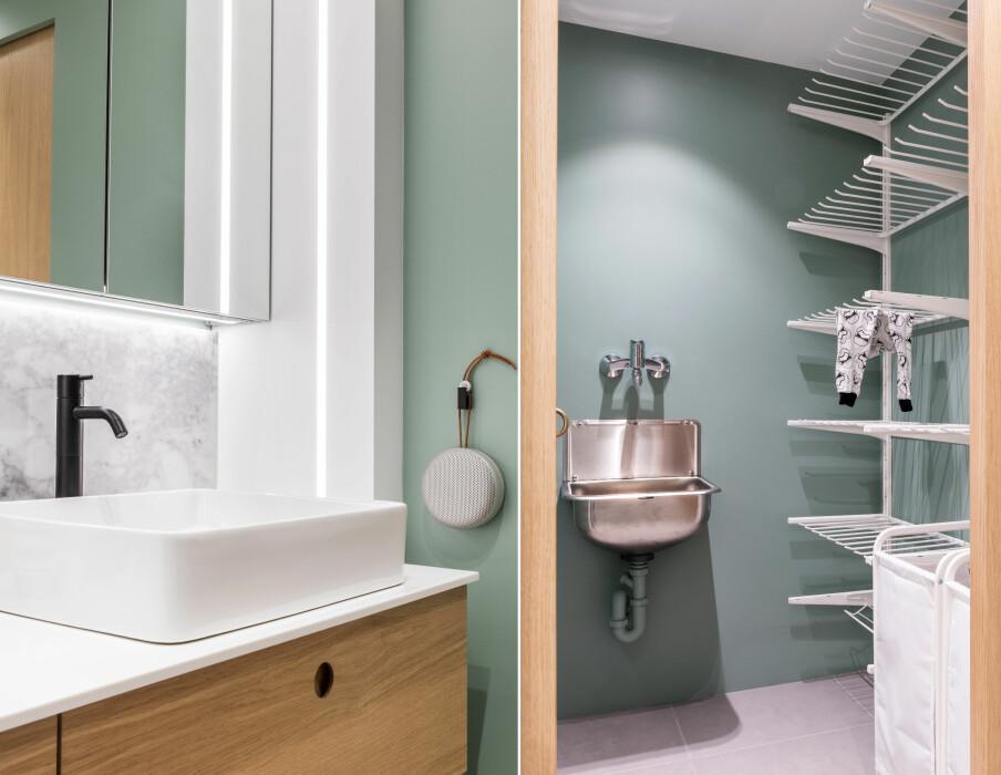 MARMOR: Til venstre: Benkeplaten er i Corian, bakplaten er i Carrara-marmor fra Lenngren Naturstein. Det er lagt innfelte led-lister under og rundt speilskapene. Til høyre: I vaskeromssonen er det lagt varmekabler med ekstra styrke, slik at klær og sko kan tørkes rett på gulvet.Høyreveggen er dedikert skittentøykurver og tørkehyller, begge fra Ikea.