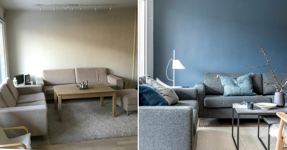 FØR OG ETTER: Møblene er plassert på samme måte som før, men forandringen er likevel stor. Sofagruppen og sofabordet er fra Bolia, gulvteppet fra Bohus og den hvite lampen i hjørnet er fra Louis Poulsen.