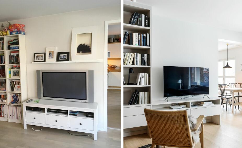 PLASSBYGD: Fremfor å innrede med ulike løse møbler, er det nå laget en plassbygd oppbevaringsløsning for bøker og tv. Møbelet er tilvirket av Elen Møbelstudio. Listverket rundt åpningen til kjøkkenet ble fjernet for å binde rommene mer sammen