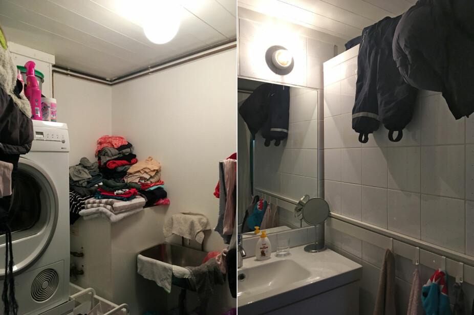 FØR: Mangelfulle oppbevarings- og tørkeløsninger gjorde at det fort ble rotete på det gamle badet.