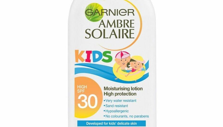 GARNIER AMBRE SOLAIRE KIDS SOLKREM SPF 30: Får testkarakter C.