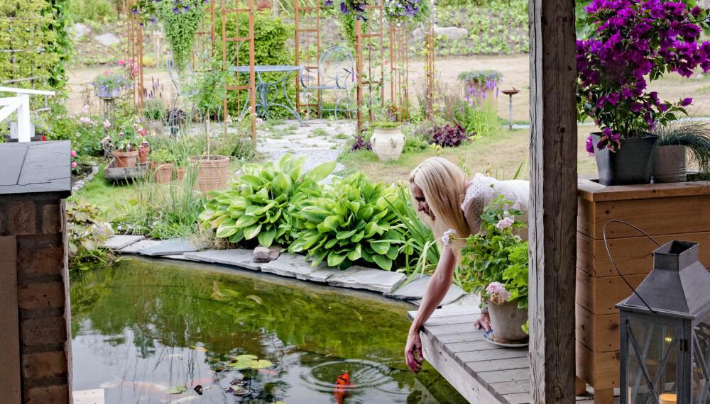 IDYLLISK HAGESTUE: Christine Strømsæther ville skape en hagestue som kunne brukes til å forlenge og tyvstarte sommeren. Deler av gulvet i hagestuen er av pleksiglass, slik at man kan se fiskene i dammen under.