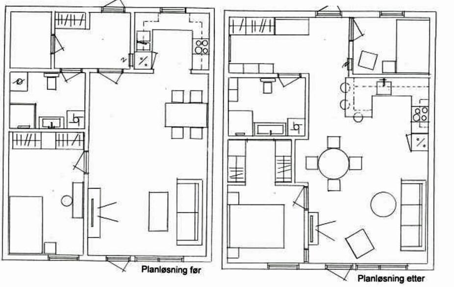 PLANLØSNING: Grepene som ble gjort var å flytte kjøkkenet ut i stuen, slik at det ble plass til det ekstra soverommet. Og så ble garderobeskapene på hovedsommeret snudd, slik at det ble plass til et garderoberom, samtidig som det ble etablert en liten spisekrok i stuen. Det ble også fjernet en innvendig bod, slik at gangen ble større.