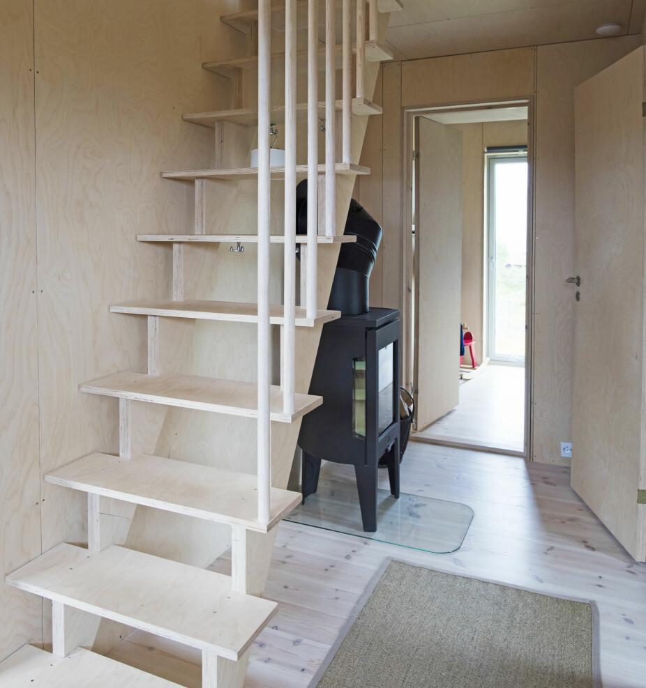 STILIG TRAPP: Bård har snekret trappen opp til den største hemsen. Rekkverket av rundstokker går igjen i hele hytta.