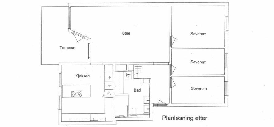 PLANLØSNING ETTER: To små sanitærrom har blitt til ett stort og romslig, og kjøkkenet har fått ny planløsning