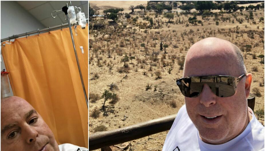 OPTIMIST: – Jeg håper jeg slipper tilbakefall, men jeg er ikke helt «ute av skogen enda», sier ishockeyprofilen. På bildet til venstre er Jan Tore på sykehus i Toscana i det som ble et ublidt møte med det italienske helsevesenet.