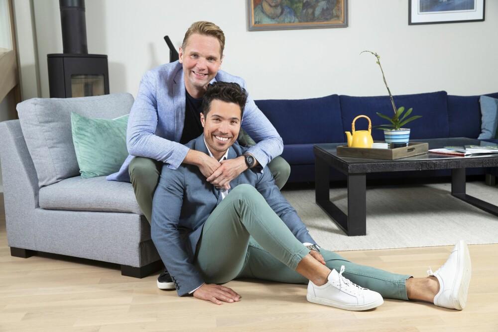 <b>HJEMMEKJÆRE:</b> TV 2-profilen Jens Christian Nørve og Tommy Børresen trives svært godt i rekkehuset på Kjelsås i Oslo. De flyttet inn i april i fjor.