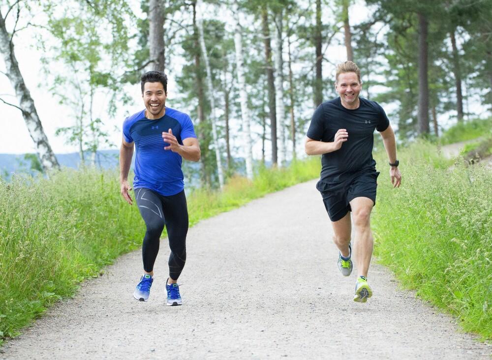 <b>SPORTY:</b> Paret er glade i å holde seg i form. Her tar de seg en løpeturi nærområdet på Kjelsås.