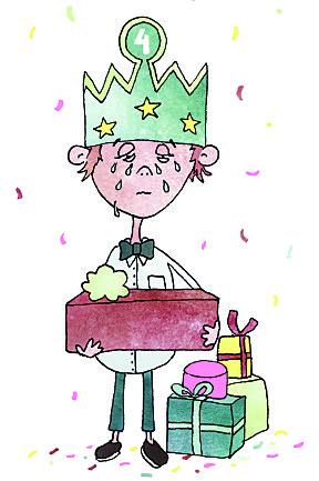 Det kan være vanskelig for barn å skjule når de blir skuffet over noe på bursdagen.