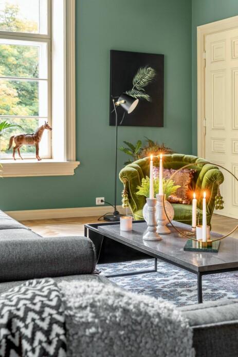 GRØNN GLEDE: Veggene er malt i grønnfargen Enigma, fra Fargerike.