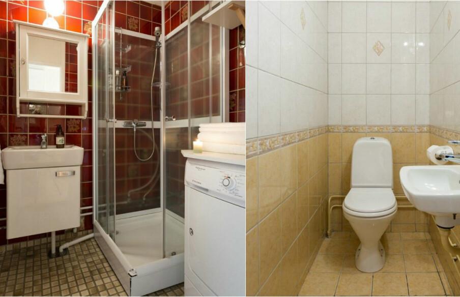FØR: Et lite nedslitt bad og et enda mindre toalett ble slått sammen til ett, stort bad.