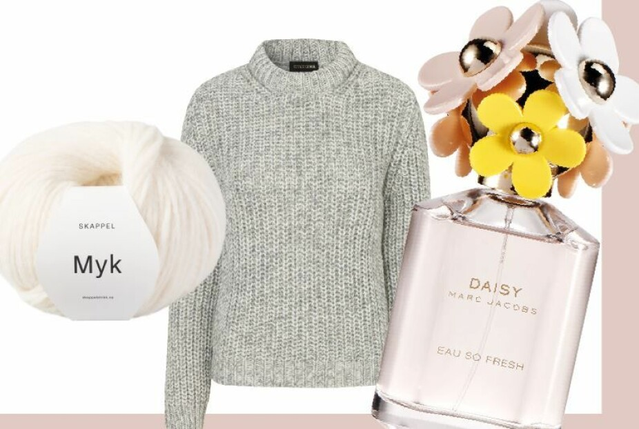 Strikkedilla! Dorthe er glad i god strikk, oftest selvlaget. Garn fra Dorthes eget strikkemerke Skappel, i fargen 305 naturhvit, kr 89. Strikkegenser fra Stine Goya, kr 2200.Marc Jacobs Daisy Eau So Fresh parfyme, kr 765 for 75 ml.