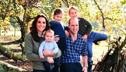 AKTIV FAMILIE: Kate og William liker å være ute i naturen med barna sine Louis, Charlotte og George.