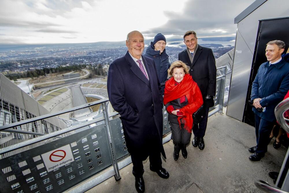 <b>I HOLMENKOLLEN:</b> Bjørn Einar var vert for dronning Sonja og president Borut Pahor i Holmenkollen.