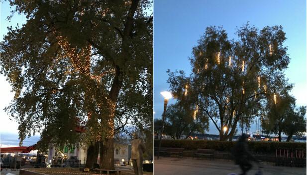 Julebelysningen ble satt opp på Aker brygge tirsdag denne uken.
