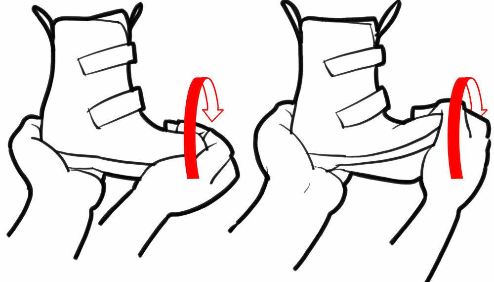 VRITEST: For å sjekke om sålen er vridningsstabil tar du tak foran og bak og vrir tuppen. Er det lett å vri skoen som en klut slik du ser på illustrasjon til høyre, er den ikke godkjent.