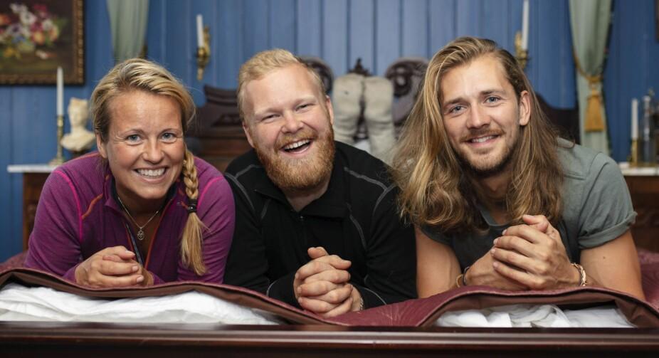 <b>NYE VENNER:</b> Her er Vibecke Garnaas fotografert sammen med «Farmen»-kollegene Mathias Pascual og Leif KristianTindeland.