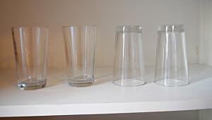 Skal glass plasseres opp eller ned i skapet?