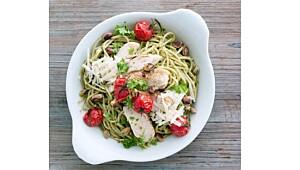 Sunt og godt: Fullkornpasta med pesto og kylling
