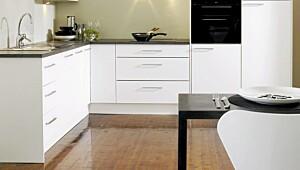Komfort glatt hvit er Strais billigste kjøkkenmodell