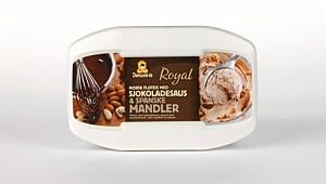 Diplom-is Royal sjokoladesaus & spanske mandler
