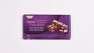Swiss Chocolate Rosiner, nøtter og mandler