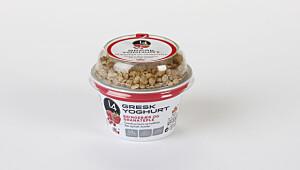 14 Gresk yoghurt bringebær og granateple
