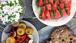 Vannmelon med fetaostkrem og basilikum